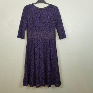 NWT Miusol Purple Black Vintage Lace Cocktail